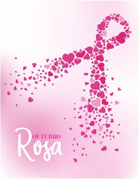 포르투갈어핑크 10월 - outubro rosa stock illustrations