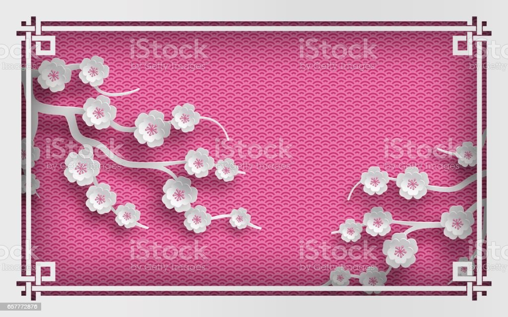 Pink oriental pattern background with sakura flowers and frame vector art illustration