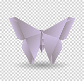 Pink origami butterfly on transparrent background with shadow.