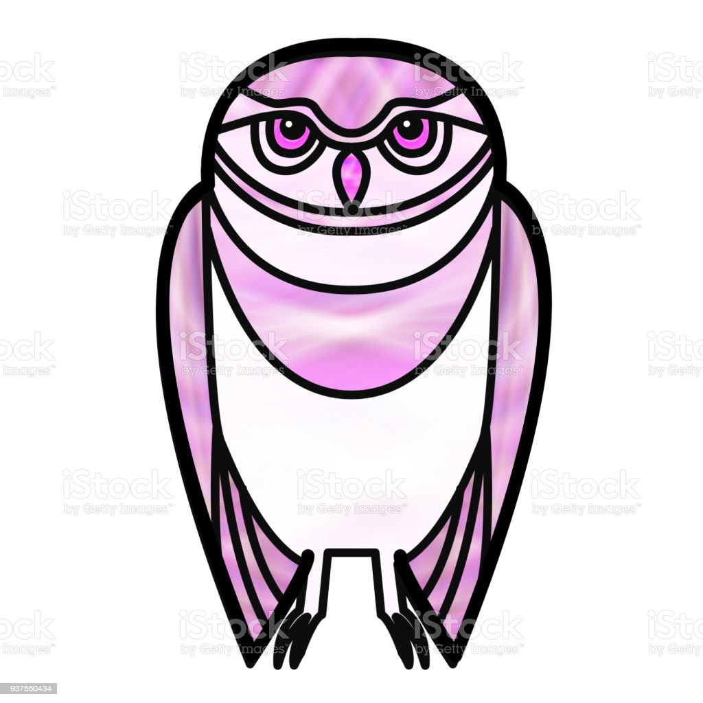 Pink Owl in Stained Glass Style vector art illustration