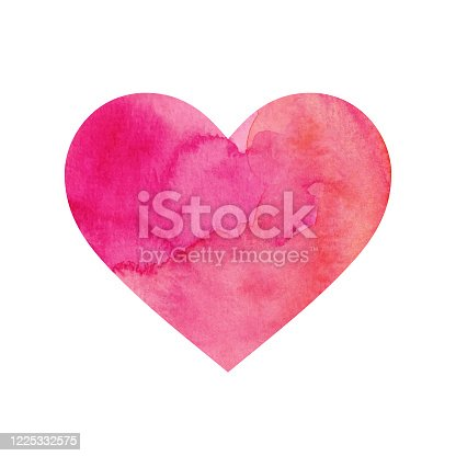 istock Pink Painted Watercolour Heart Isolated on a White Background 1225332575