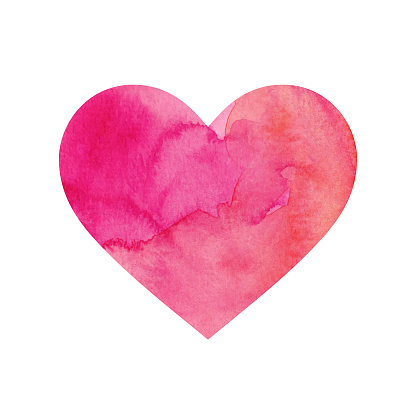 Pink Painted Watercolour Heart Isolated on a White Background