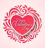 Pink Paper Heart. Valentines Day Greeting Card on Ornate Background.