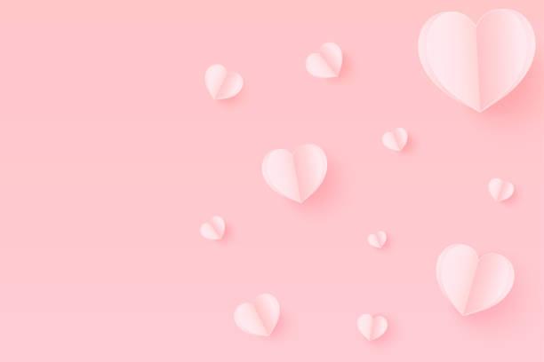 bildbanksillustrationer, clip art samt tecknat material och ikoner med rosa pappershjärtan med kopia utrymme. papper hjärta flyger på rosa bakgrund. vektor illustration, mors dag, alla hjärtans dag - rosa bakgrund