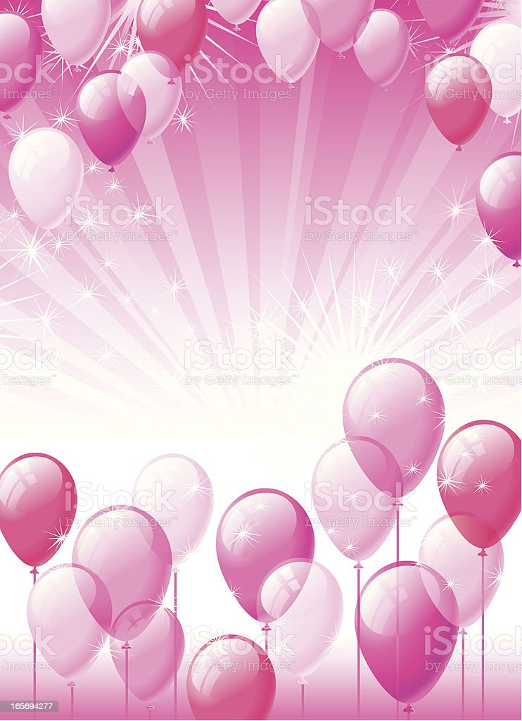 Pink party balloons background royalty-free stock vector art