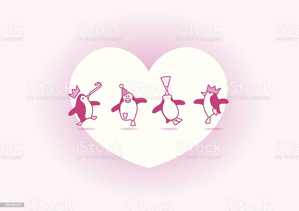 Pink Party Penguins on White Heart royalty-free stock vector art
