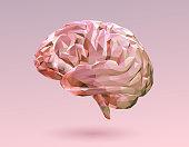 Pink pastel low poly brain illustration on pink BG