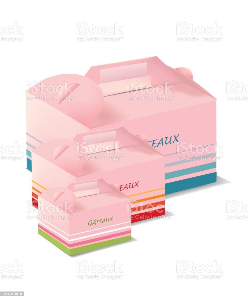 Rosa Muster Kuchen Trager Verpackung Stock Vektor Art Und Mehr