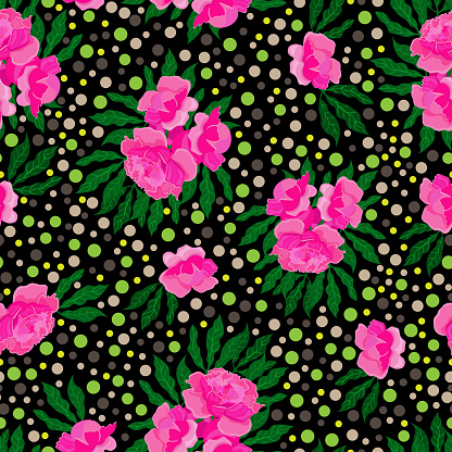 Pink peonies and green leaves on black background. Seamless floral pattern, vector.