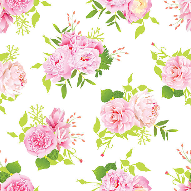 Pink peonies seamless vector print in shabby chic style. Beautiful pink peonies with green leaves on white seamless vector print in shabby chic style. shabby chic stock illustrations