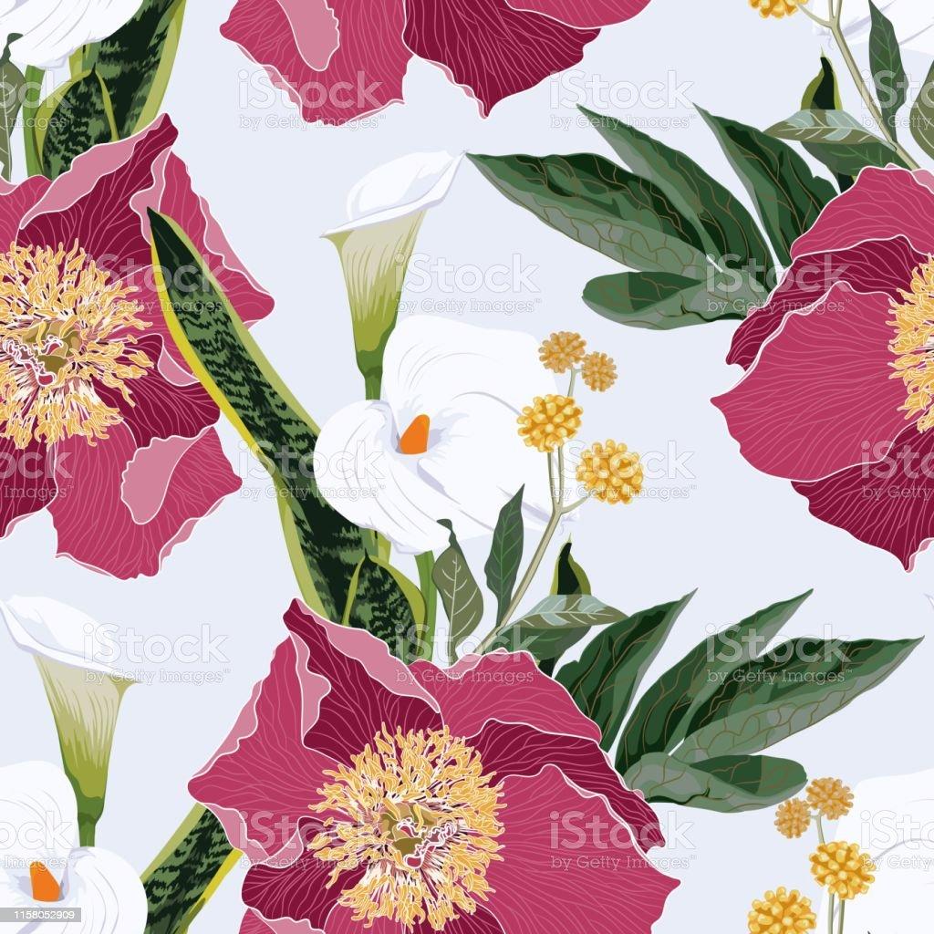 カラユリとハーブブーケシームレスパターンとピンクのピオニー花水彩画