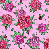 Pink peony.Red ladybug.Bright Seamless pattern with beautiful realistic flowers on a white background.Green leaves.