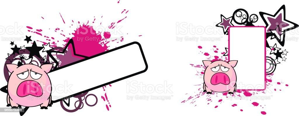 pink pig cartoon copy space set royalty-free pink pig cartoon copy space set stock vector art & more images of cartoon