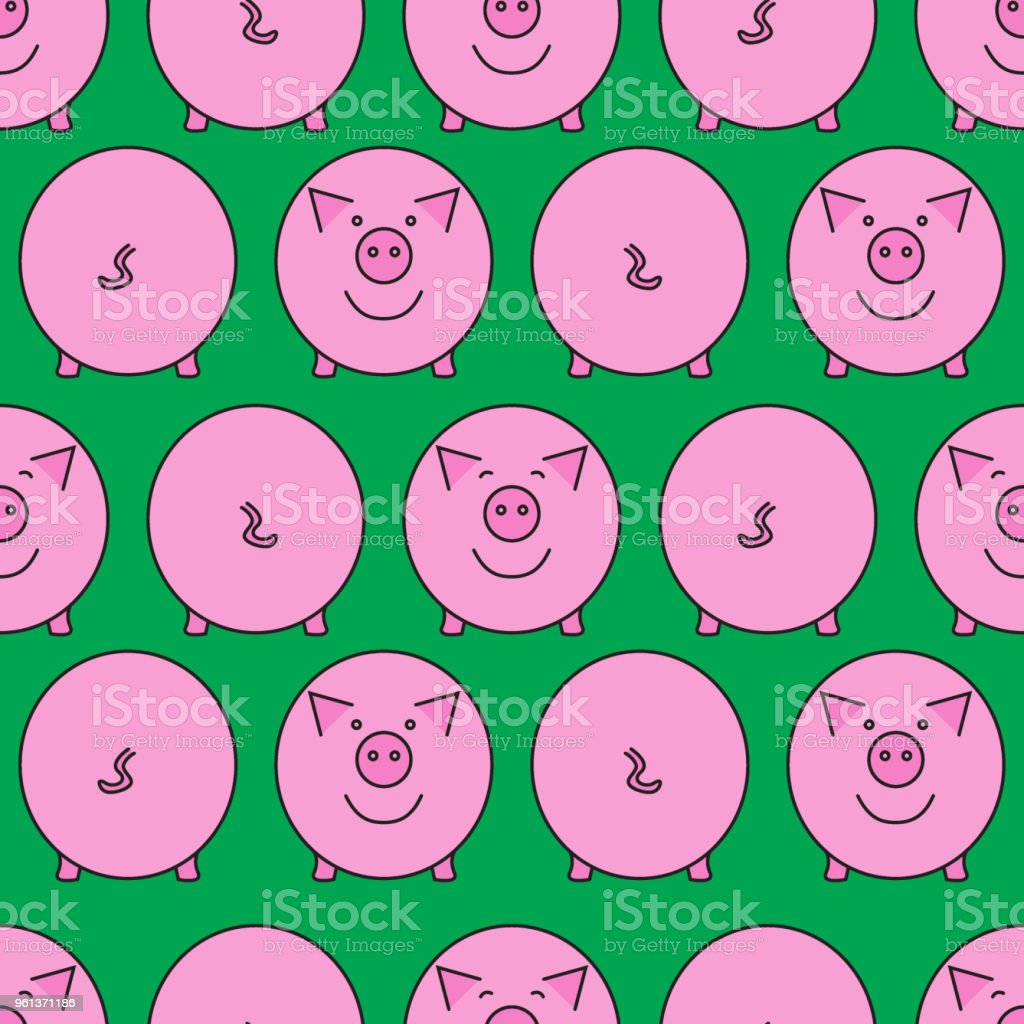 Pink pig. Seamless pattern. vector art illustration
