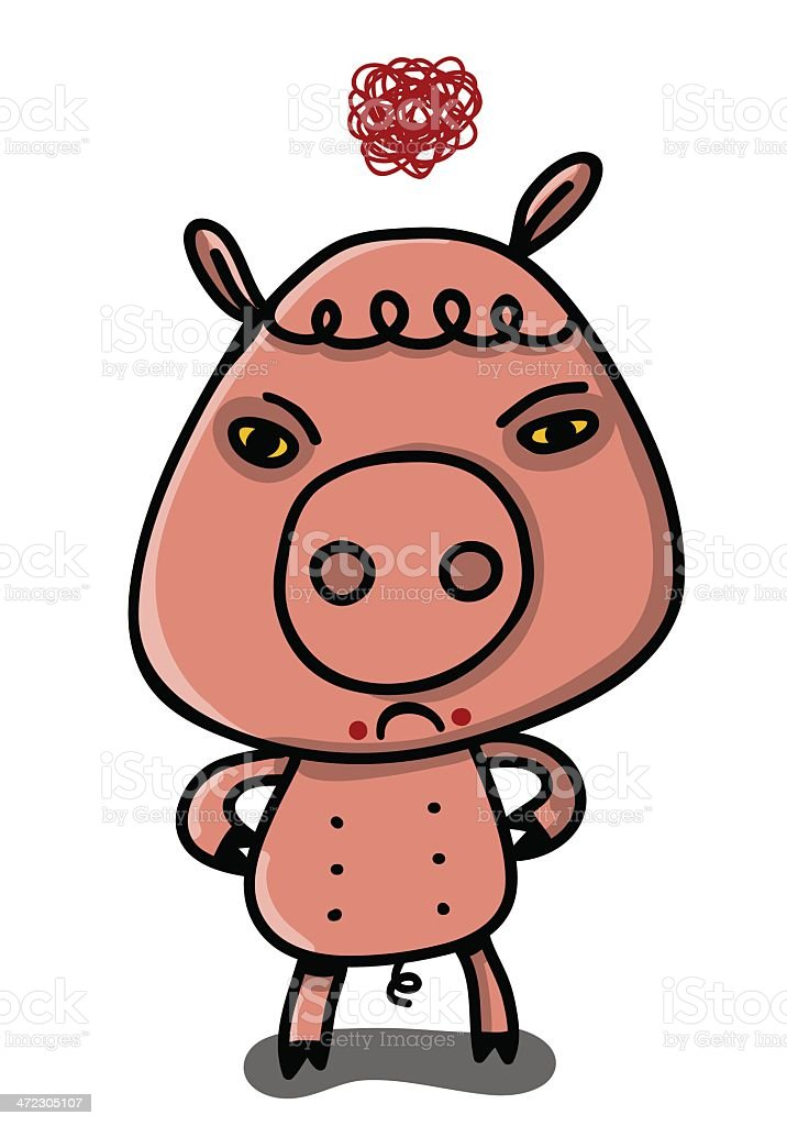 pink pig very furious royalty-free stock vector art