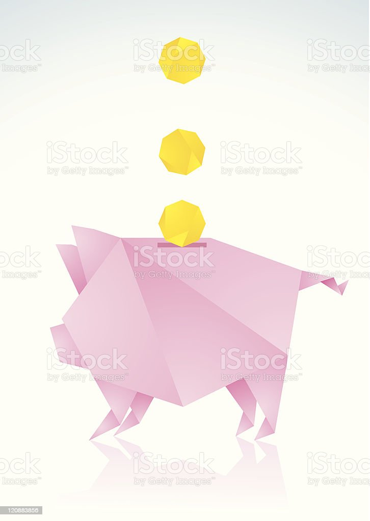 Pink pig with a paper coin royalty-free stock vector art