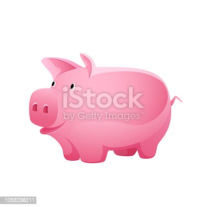 Pink piggy bank for coins on a white background, vector icon.