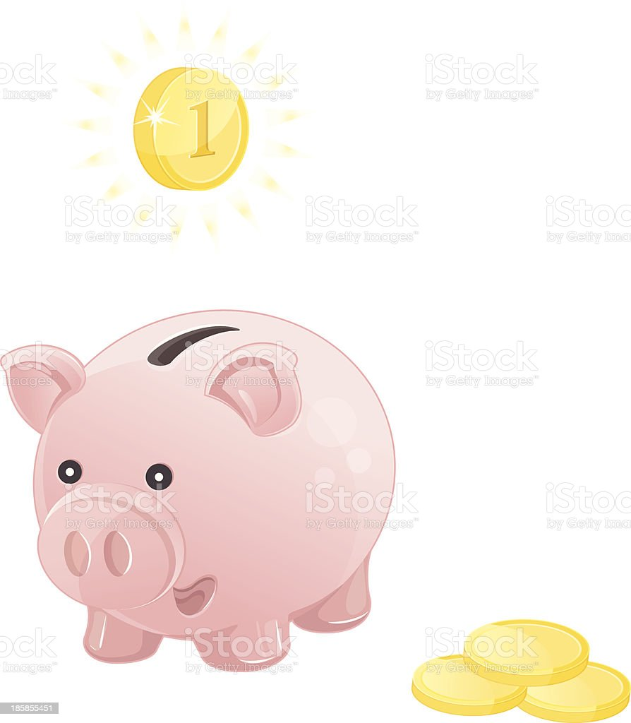 pink piggy bank with coins royalty-free stock vector art