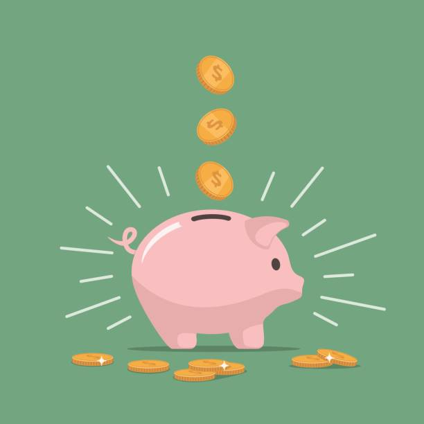 Pink piggy bank with falling coins. Saving money. Investments in future. Pink piggy bank with falling coins. The concept of saving money or open a bank deposit. Investments in future. Isolated vector illustration piggy bank in flat style. piggy bank stock illustrations
