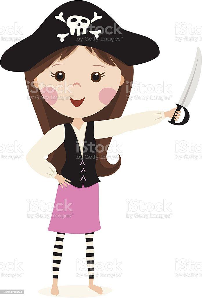 Pink pirate cartoon girl royalty-free stock vector art