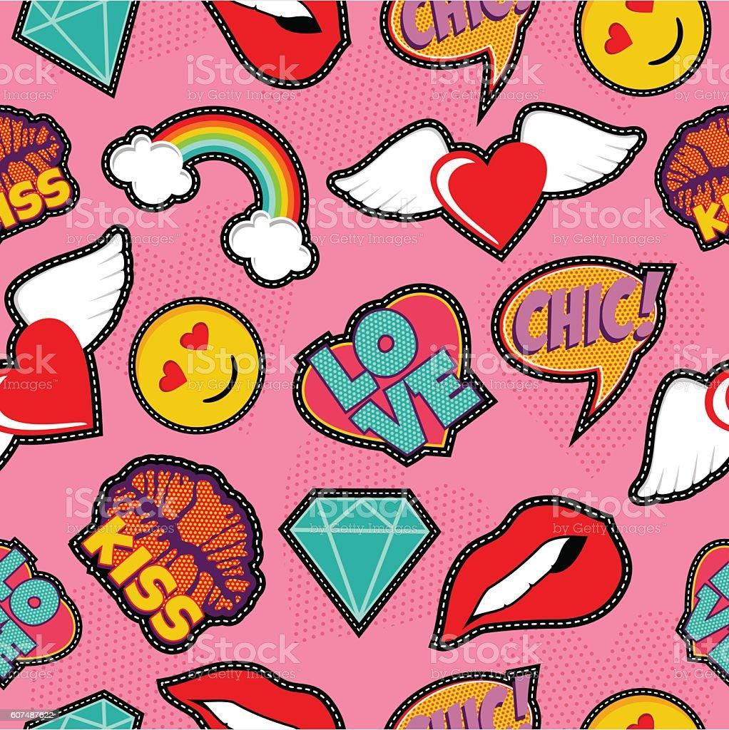 Pink pop art stitch patch seamless pattern vector art illustration