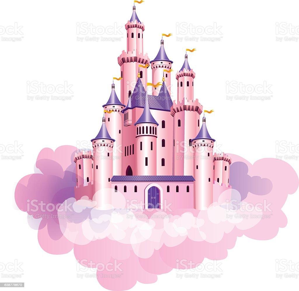 Pink princess castle. vector art illustration