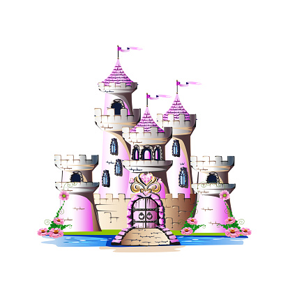Pink princess castle with magic crystals