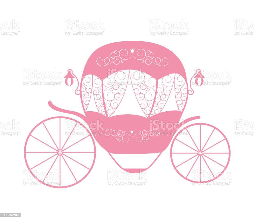 Pink Princess Cinderella Fairytale carriage. Vector Illustration – Vektorgrafik