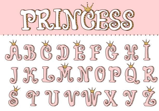 illustrazioni stock, clip art, cartoni animati e icone di tendenza di pink princess cute font. letters for decoration in girlish style. doodle vector elements of royal design. - principessa