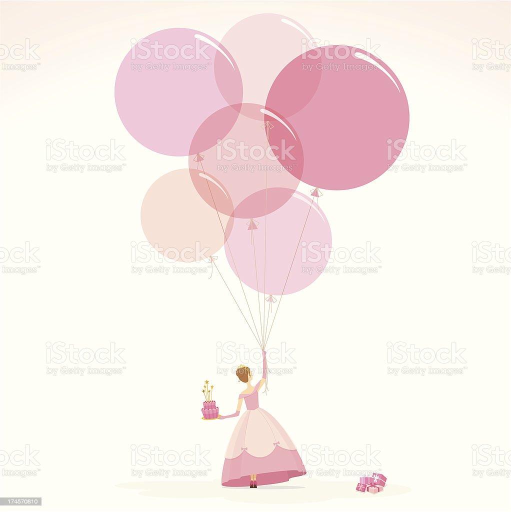 Pink princess happy birthday invitation girl cake illustration vector vector art illustration