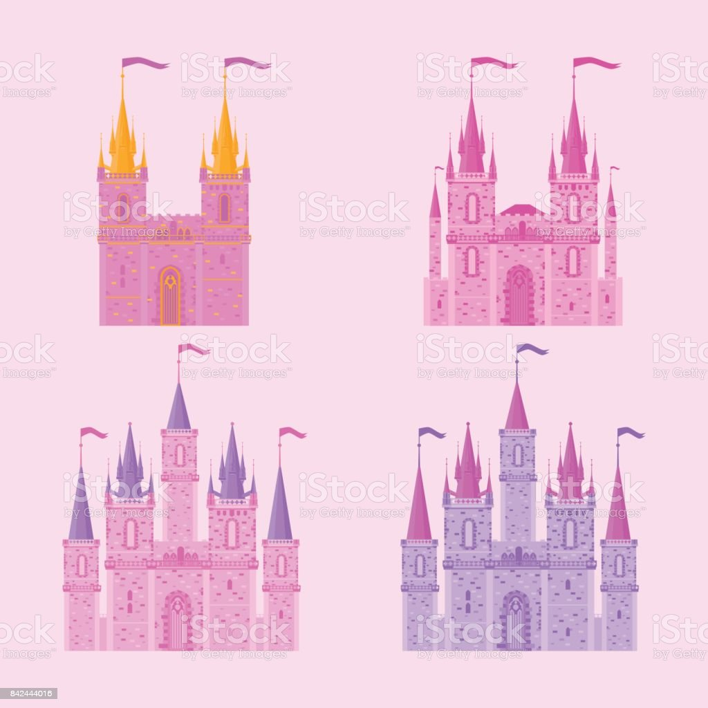 Pink Princess Magic Castle Flat Cute Fairytale Palace With Tower Child Medieval Kingdom Stock Illustration Download Image Now Istock