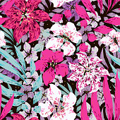 Beautiful tropical floral vector seamless pattern. Black background. Template for textile, wallpaper, print, web, carton, banner, ceramic tile, clothing.