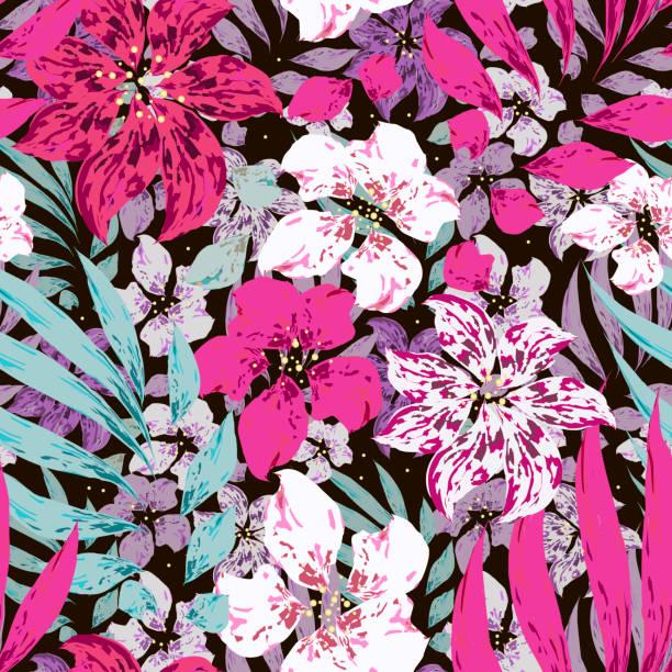 bildbanksillustrationer, clip art samt tecknat material och ikoner med rosa, lila och vita blommor med löv. - amaryllis
