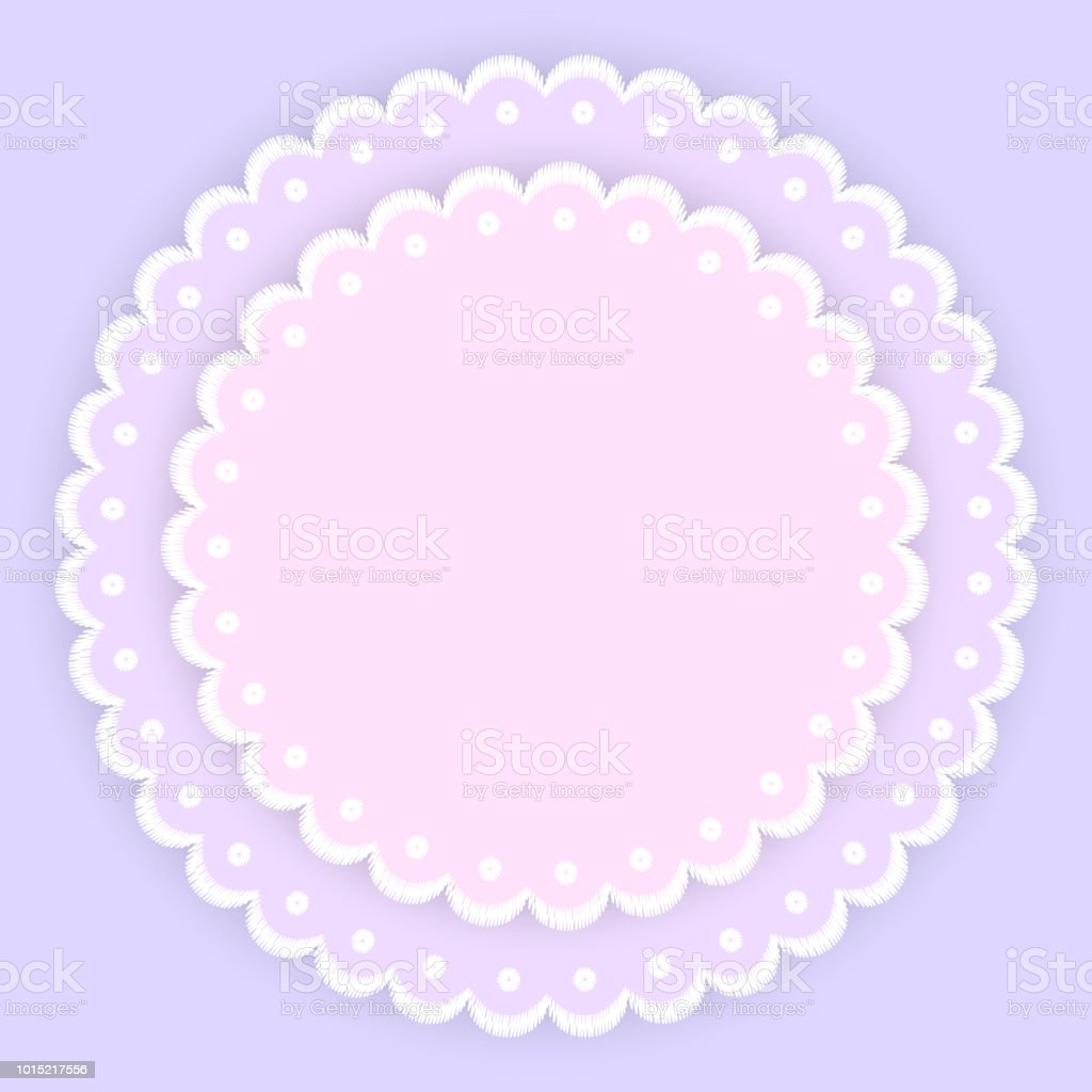 Pink Purple And White Scalloped Lacy Edge Embroidery Circle Doilies Card Template Vector Royalty