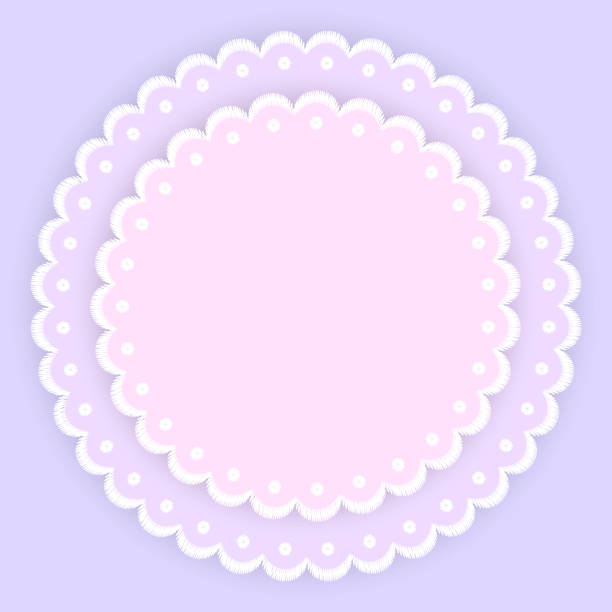 pink purple and white scalloped lacy edge embroidery circle doilies, card template, vector - scallop stock illustrations, clip art, cartoons, & icons