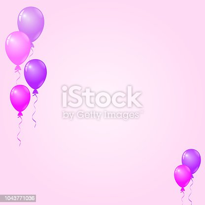 istock Pink, Purple Balloons on Pink Background, Birthday Card, Party Invitation Card 1043771036