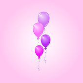 Vector Pink, Purple Balloons on Pink Background, Birthday Card, Party Invitation Card