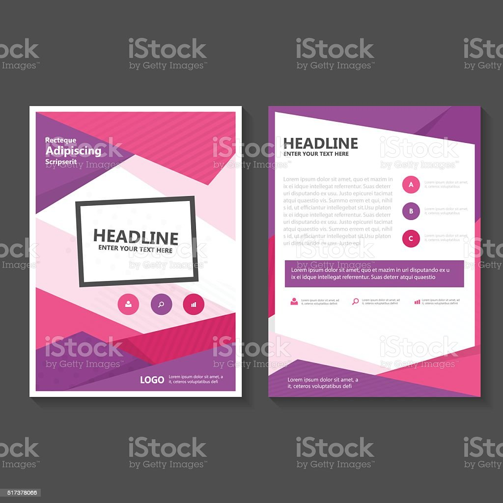 Connu Pink Purple Vector Leaflet Brochure Flyer Template Flat Design Set  XQ34