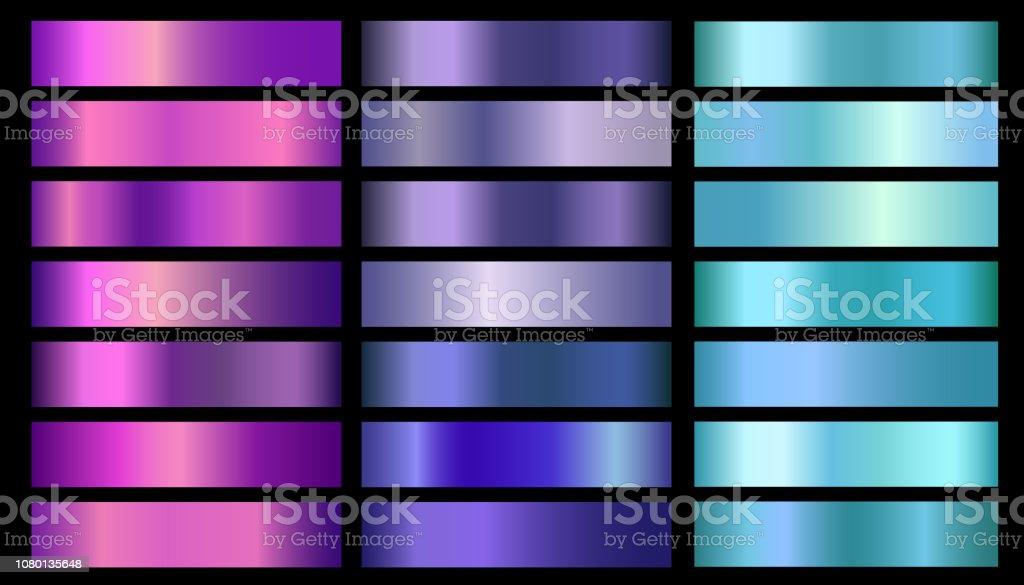 Pink, purple, violet, blue, aquamarine metallic foil texture vector gradients set pink purple violet blue aquamarine metallic foil texture vector gradients set - immagini vettoriali stock e altre immagini di acciaio inossidabile royalty-free