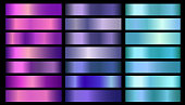 Pink, purple, violet, blue, aquamarine metallic foil texture vector gradients set. Glossy shiny metallic gradient colorful illustration gradation for backgrounds, banner, user interface, flyers, cards