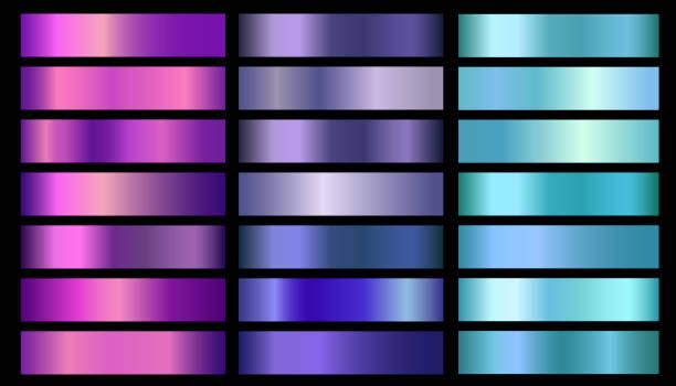 różowy, fioletowy, fioletowy, niebieski, akwamaryn metaliczna folia tekstury gradienty wektorowe zestaw - metal stock illustrations