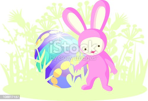 istock Pink Rabbit and Easter egg 108817137