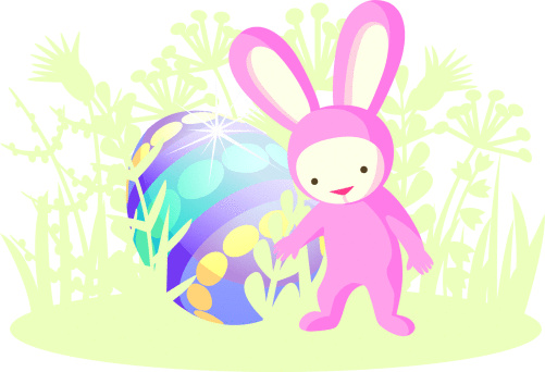 Pink Rabbit and Easter egg