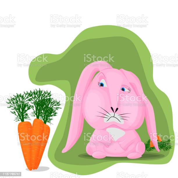 Pink rabbit on a green background with sadness looks at a large ripe vector id1137765741?b=1&k=6&m=1137765741&s=612x612&h=vdxs36zcjm2oum c173kk4 jfrwrl9vfguzfkk0pyi8=