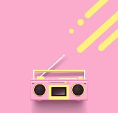 Pink radio on pink background. Top view. Vector illustration