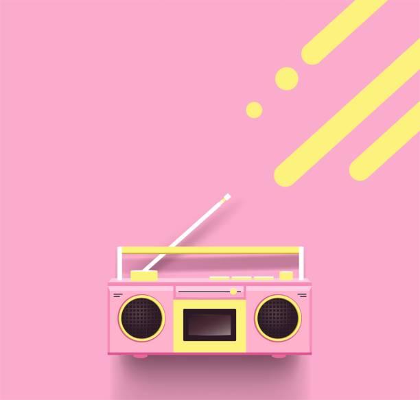 Pink radio on pink background. vector art illustration
