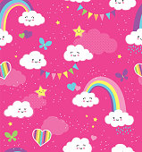 Pink Rainbow Sky Repeating Vector Pattern