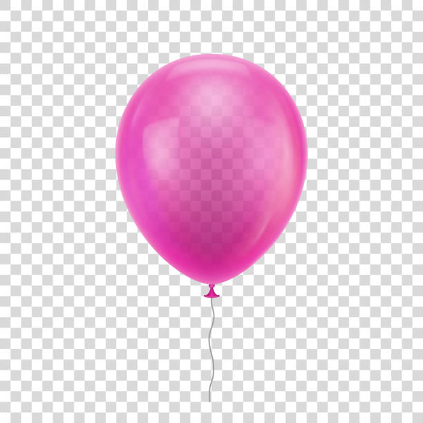 Pink realistic balloon. Pink realistic balloon. Blue ball isolated on a transparent background for designers and illustrators. Balloon as a vector illustration hot air balloon stock illustrations
