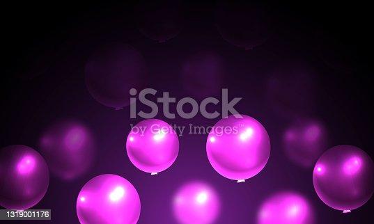 istock Pink realistic balloons, blur balloons. stock illustration 1319001176
