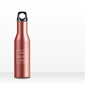 Pink Realistic Fitness bottle.On white background for you design.aluminium texture.vector illustration
